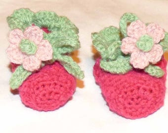 soft pink and green baby booties crochet