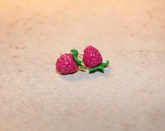Raspberry studs polymer clay