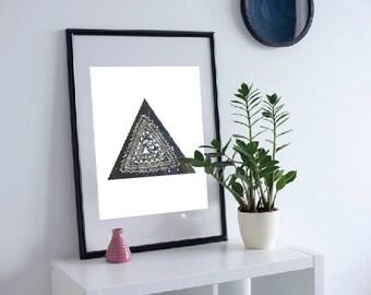Tribal Triangle Mandala Art Wall Print
