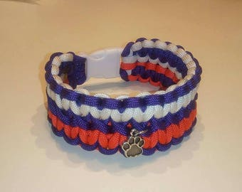 Purple, Orange, and White Paracord Bracelet or Anklet - Double Wide Clemson Style with Paw Charm