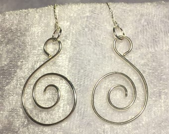 handmade silver spiral dangle earrings
