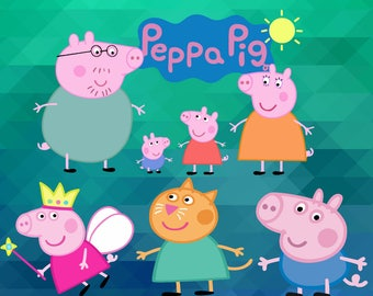 Peppa Pig ClipArt – 10 (Png, Jpg, Svg, Eps Files) – 300 PPI – Peppa Pig Decoration – Peppa Pig Printables – Peppa Pig Birthday Party
