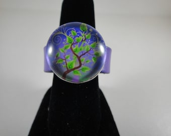 New purple leather with 20mm snap ring (for ring size 7, 5cm)