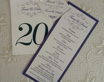 Purple Wedding Menu, Purple And Silver Wedding Menu, Purple Menu, Purple And Silver Menu, Purple And Silver Wedding Menus, Purple Menus