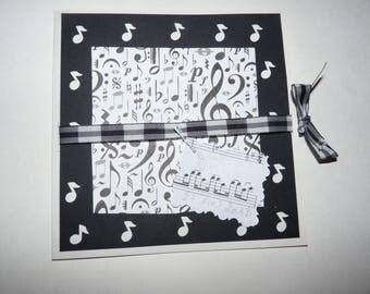 Black and white music theme wedding invitation