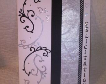 """Grey and black Arabesque"" wedding congratulations card"