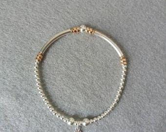 Sterling Silver and Rose Gold Noodle Bracelet. Noodle beads/925 Silver beads/gift for her/stretch bracelet