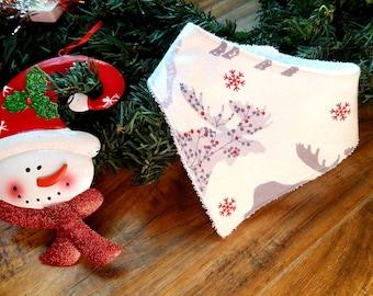 Moose Bandanna Bib- Holiday Bandanna Bib- Bandanna Bib- Baby Bib- Christmas Baby Bib