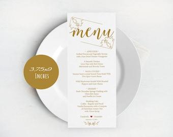 Gold, Wedding Menu 3.75x9 Templates, Editable Wedding Menu, Instant Download, DIY Wedding, Printable Wedding Menu Template, LDS_65