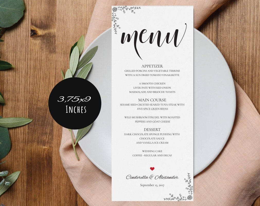Wedding Menu 3.75x9 Templates, Editable Wedding Menu, Instant ...