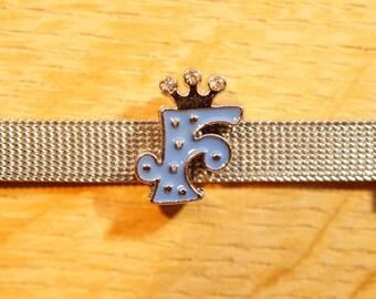 Pearl Crown bandwidth Indigo F alphabet for bracelet