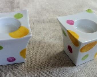 Duo of lanterns porcelain dots pattern