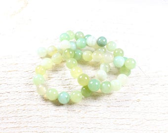 natural agate beads 10 shades of green +/-8mm