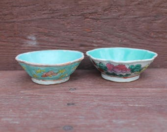 Hand Painted Asian Bowls, Scalloped Edges, Chinese Bowls, Decorative Serving Bowls, Pair of Bowls, Set of 2, Turquoise Bowls