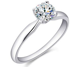 Diamond Engagement Ring, Brillant cut Engagement Ring, 18K White Gold Ring, 18K Gold Ring, 18K White Gold, 18K