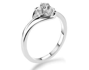 Diamond Engagement Ring, Brillant cut Engagement Ring, 18K White Gold Ring, 18K White Gold Engagement Ring, 18K Gold, 18K