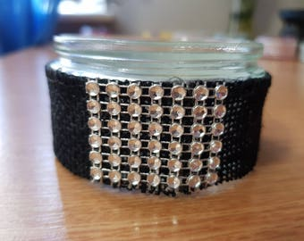 Black and silver sequin tealight holder