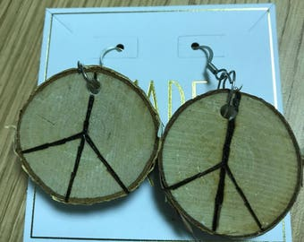 Peace wood burned dangle earrings