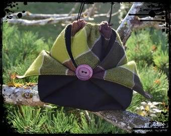 "Pouch / bag origami ""green purple Plaid"""