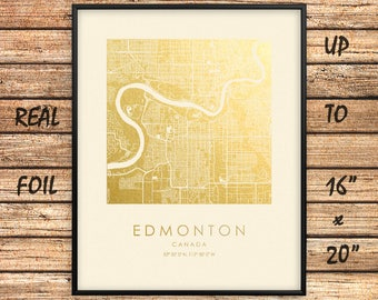 """Edmonton City 16""""x20"""" Map Gold Print, Real Gold Foil Print, Edmonton Map Poster, Edmonton Square Map, Edmonton Gift, Canada, GoldenGraphy"""