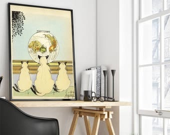 Three cats watching fish in an aquarium, Art print with cats, Giclee, vintage art print
