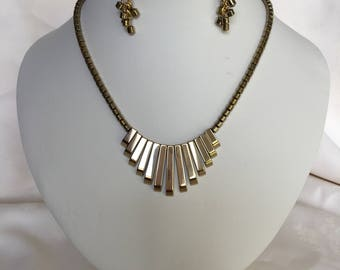 Gold Plated Hematite Egyptian Style Necklace and Earrings Set