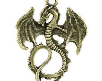 bronze colored dragon charm 35 x 28 mm