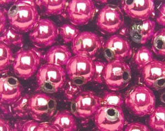 10 6mm - Fuchsia color plastic beads