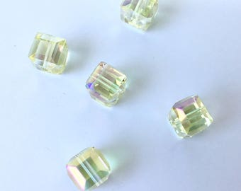 BEAUTIFUL 10 X 10 mm FACETED (C45) SWAROVSKI Crystal cube beads