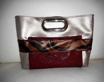 Faux leather reversible bag, Clutch bag