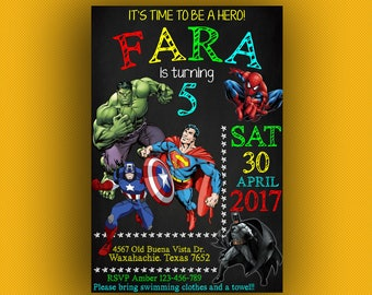 Superhero Invitation, Superhero Invitation Boy, Superhero Birthday Invitation, Superhero Birthday Party, Superhero Party, Hero Invitation,