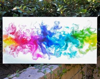 Prism- Original rainbow abstract fluid art painting