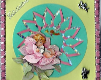 "card 3D ""baby in pink"""