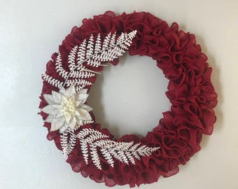 Red Burlap Wreath with White Flower