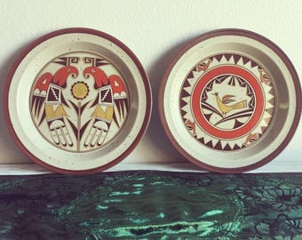 Vintage southwest style spotted stoneware plates/native american/aztec style/retro decor/ : aztec dinnerware - pezcame.com
