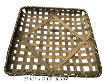 "27 1/2"" Square Tobacco Wood Basket Vintage Primitive Look Country Farmhouse Rustic Chic 27 1/2"" x 27 1/2"" x 3.35"""