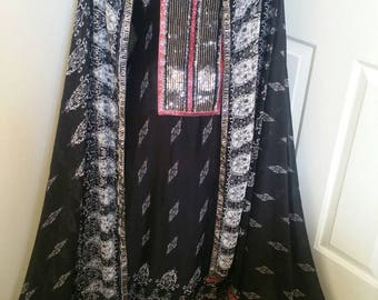 2pcs black and white printed chiffon kameez with dupatta