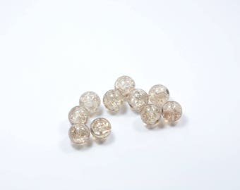 PE80 - Set of 10 Crackle glass beads