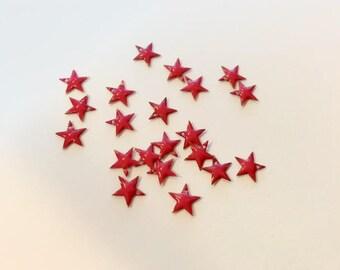 10 breloques étoiles émaillées 8mm rouge pour créations de bijoux
