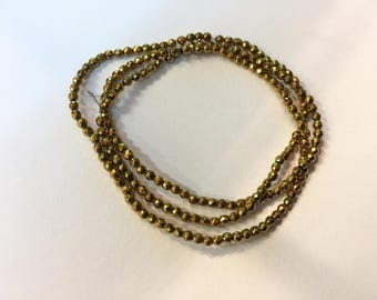 Pearl faceted Hematite 2.30 mm Golden jewellery designs