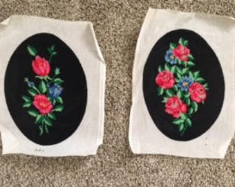 Set of 2 Needlepoint pictures of flowers