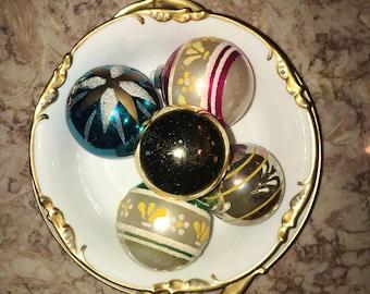 5 Vintage Shiny Bright Christmas Ornaments