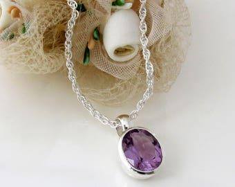 925 Sterling silver Amethyst Pendant, Silver Amethyst Necklace, Amethyst Gemstone Jewelry
