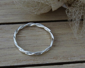 Sterling Silver Twist Rope Ring, Single Stack Ring, Skinny Ring, Fine Silver Ring For Women