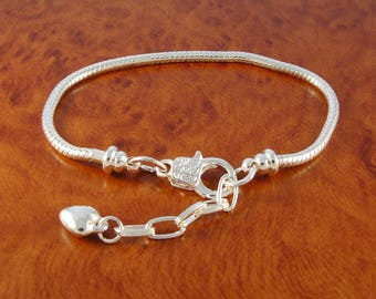 "Silver European charm bracelet / 7"" charm bracelet with heart charm / chain bracelet for charms and beads"