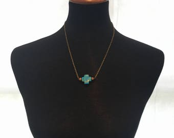Turquoise Cross Necklace 20""