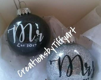His and hers Christmas ornaments