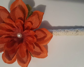 Flower pen/Orange Rustic in color/Dahlias/special occasions/Signing pen/Guest Book pen