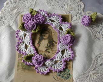 Purple and white photo frame for scrapbooking embellishment