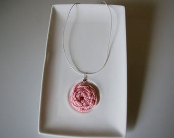 crochet pink necklace with flower
